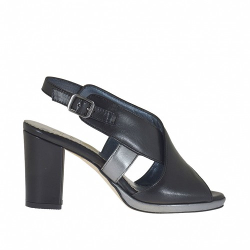 Woman's sandal with crossed bands and platform in black and gunmetal leather heel 8 - Available sizes:  44, 46