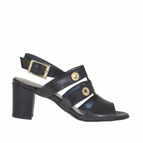 Sandale à bandes pour femmes avec goujons dorés en cuir noir talon 6 - Pointures disponibles:  32, 43, 46