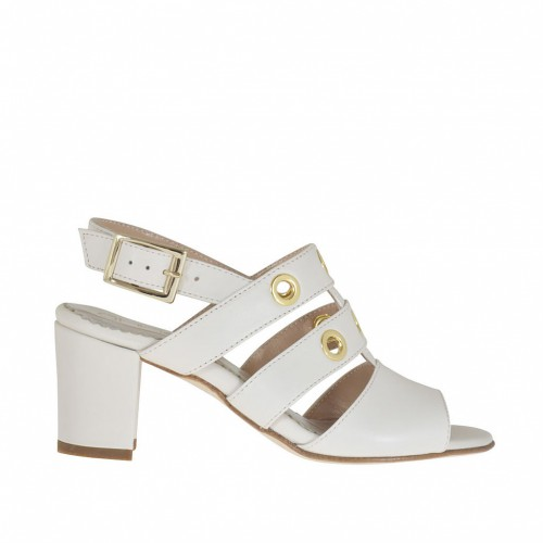 Woman's strappy sandal with golden studs in ivory leather heel 6 - Available sizes:  43, 45, 46