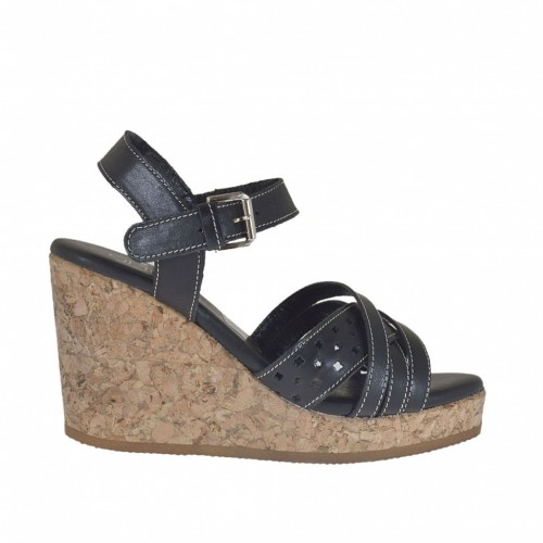 Woman's strap sandal in black leather and pierced leather with cork platform and wedge 8 - Available sizes:  42