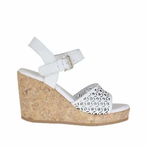 Woman's strap sandal in white leather and pierced leather with cork platform and wedge 8 - Available sizes:  42