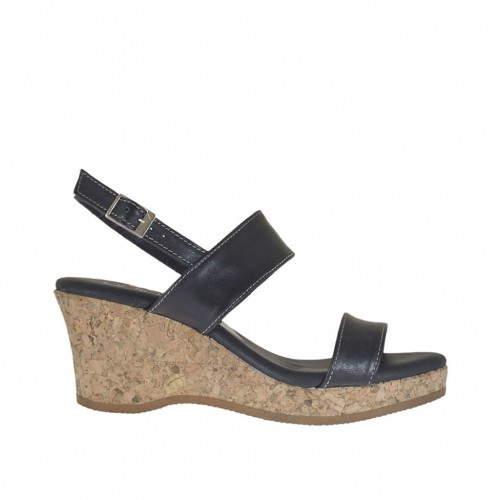 Woman's sandal in black leather with cork platform and wedge 6 - Available sizes:  43