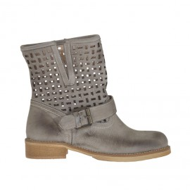 Woman's ankle boot with buckle in earthtone vintage leather and pierced leather heel 3 - Available sizes: 32, 34, 42, 45