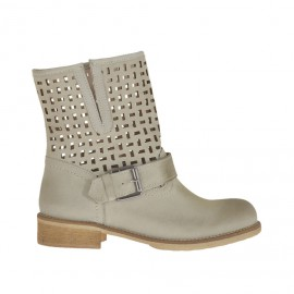 Woman's ankle boot with buckle in beige leather and pierced leather heel 3 - Available sizes: 32, 34, 44