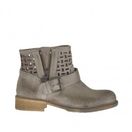 Woman's ankle boot with buckle and zipper in earthtone leather and pierced leather heel 3 - Available sizes: 34