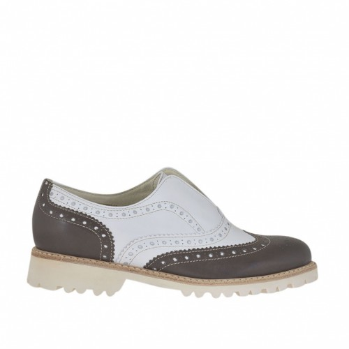 Woman's Oxford shoe with elastic band in brown and white leather heel 2.5 - Available sizes:  32, 33, 34, 45