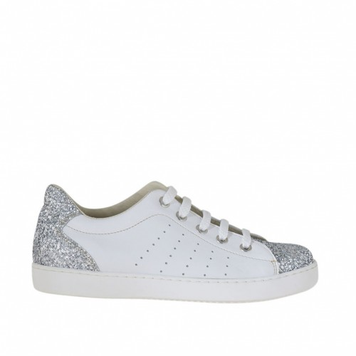 Woman's laced shoe in white pierced leather with silver glitter wedge heel 2 - Available sizes:  32, 33