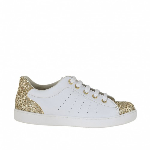 Woman's laced shoe in white pierced leather with golden glitter wedge heel 2 - Available sizes:  32, 33, 34