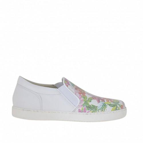 Chaussure pour femmes avec elastiques en cuir blanc et imprimé floral talon compensé 2 - Pointures disponibles:  33, 42, 46