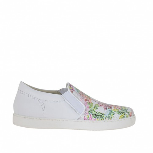 Woman's shoe with elastic bands in floral printed and white leather wedge 2 - Available sizes:  33