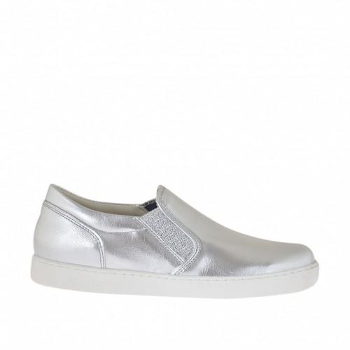 Chaussure pour femmes avec elastiques scintillants en cuir lamé argent talon compensé 2 - Pointures disponibles:  33, 34, 45, 46