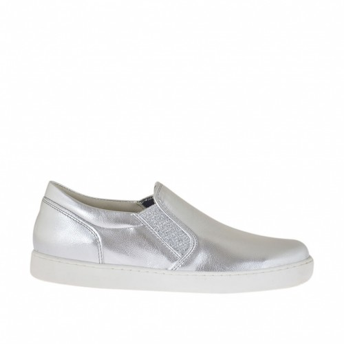Woman's shoe with glittery elastic bands in silver laminated leather wedge 2 - Available sizes:  33, 34, 45, 46