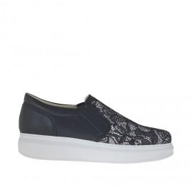 Zapato para mujer con elasticos en piel y encaje negro cuña 4 - Tallas disponibles: 46