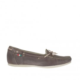 Woman's mocassin with bow in brown leather wedge heel 1 - Available sizes:  42