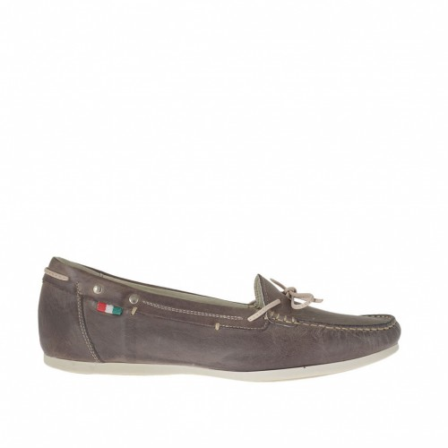 Woman's mocassin with bow in brown leather wedge heel 1 - Available sizes:  42, 43, 46