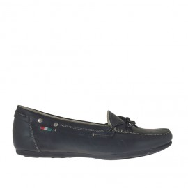 Woman's mocassin with bow in black leather wedge heel 1 - Available sizes: 42, 46