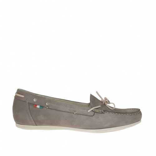 Woman's mocassin in dove grey nubuck leather with bow wedge heel 1 - Available sizes:  42