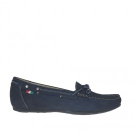 Woman's mocassin in blue nubuck leather with bow wedge heel 1 - Available sizes: 42