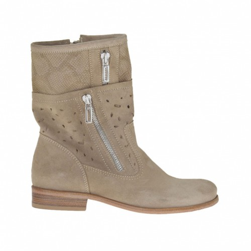 Woman's ankle boot with zippers in beige pierced and printed nubuck  leather heel 2 - Available sizes:  32, 34