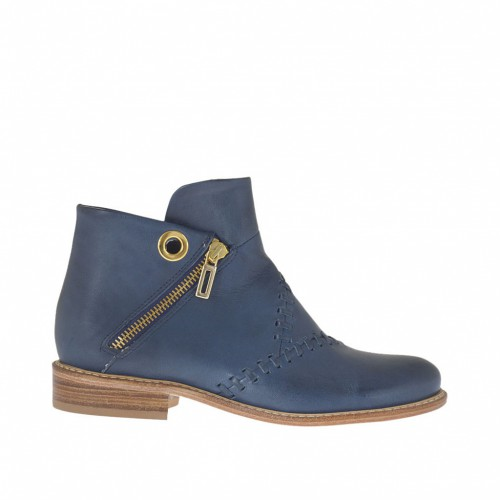 Woman's ankle boot with zippers and stud in blue leather heel 2 - Available sizes:  33