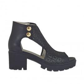 Scarpa aperta da donna con bottoni in pelle e pelle traforata nera tacco 6 - Misure disponibili: