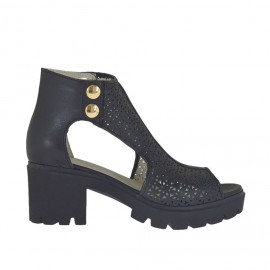 Zapato abierto para mujer con botones en piel y piel perforada negra tacon 6 - Tallas disponibles:  34