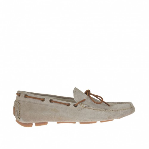 Men's car shoe with laces in beige suede - Available sizes:  37, 46
