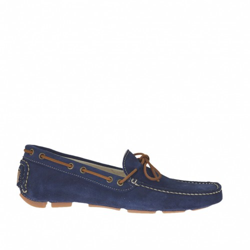 Men's car shoe with bow in blue suede - Available sizes:  46