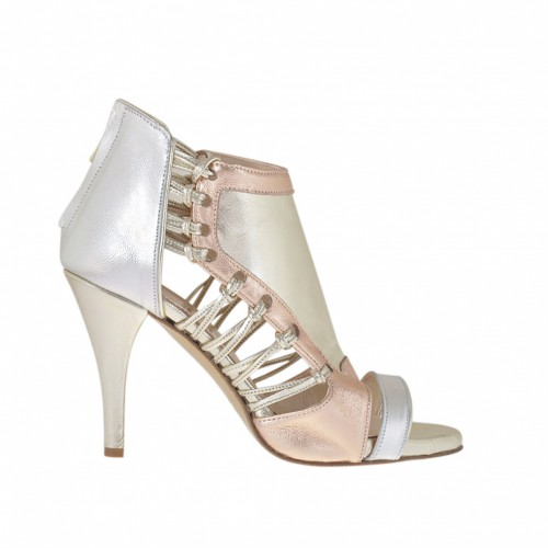 Woman's high-fronted open shoe with platform and zip in laminated silver, platinum and copper leather heel 8 - Available sizes:  32