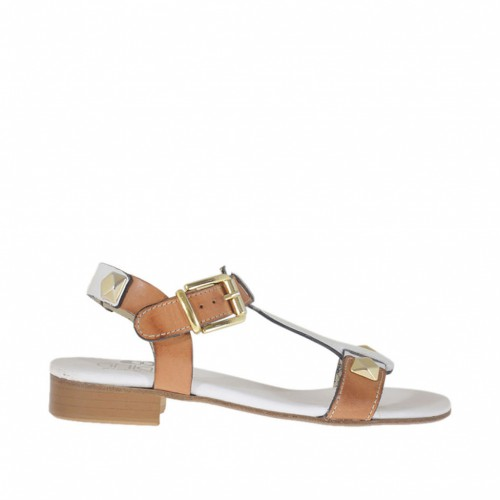 Woman's sandal with studs in white and tan-colored leather heel 2 - Available sizes:  32