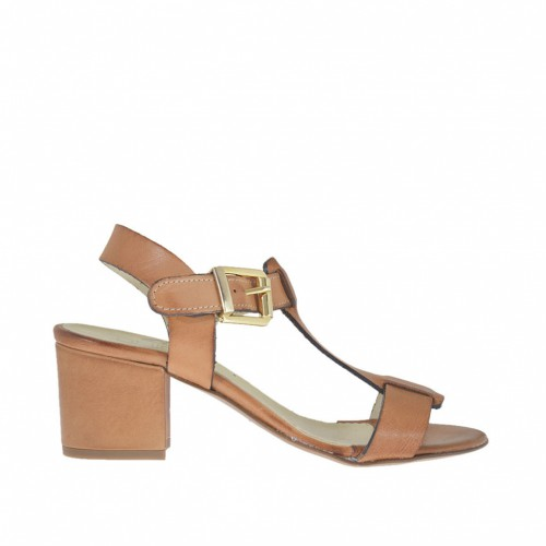 Woman's sandal in tan-colored leather heel 5 - Available sizes:  45