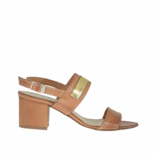 Woman's sandal in tan-colored leather with golden accessory heel 5 - Available sizes:  43