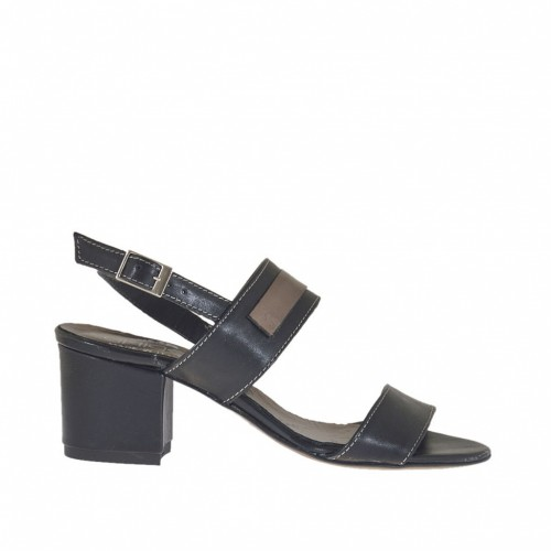 Woman's sandal in black leather with gunmetal-colored accessory heel 5 - Available sizes:  42