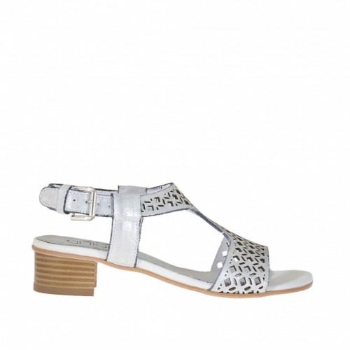 Woman's sandal in silver laminated pierced and processed leather heel 3 - Available sizes:  32