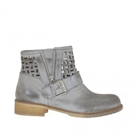 Woman's ankle boot with buckle and zipper in grey antiqued pierced leather heel 3 - Available sizes: 32, 42