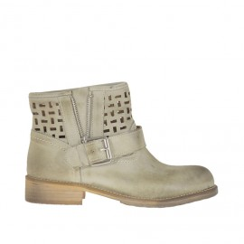 Woman's ankle boot with buckle and zipper in beige antiqued pierced leather heel 3 - Available sizes: 32, 34
