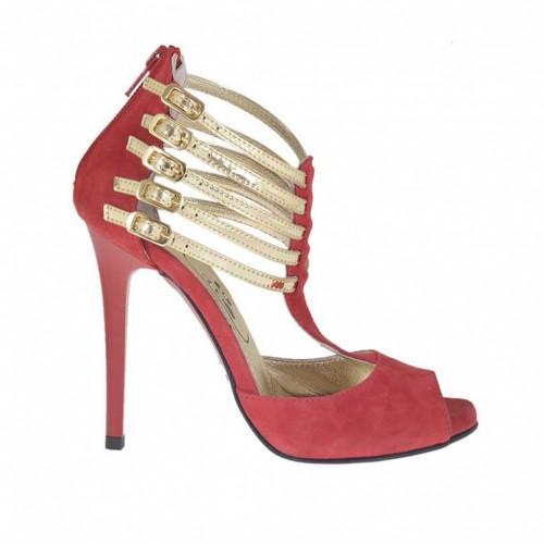 Chaussure ouvert pour femmes avec fermeture éclair et courroies en daim rouge et cuir verni platine avec plateforme talon 10 - Pointures disponibles:  32, 42, 44, 45