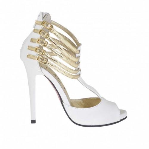 Chaussure ouvert pour femmes avec fermeture éclair, plateforme et courroies en cuir blanc et cuir verni platine talon 10 - Pointures disponibles:  34, 42, 43