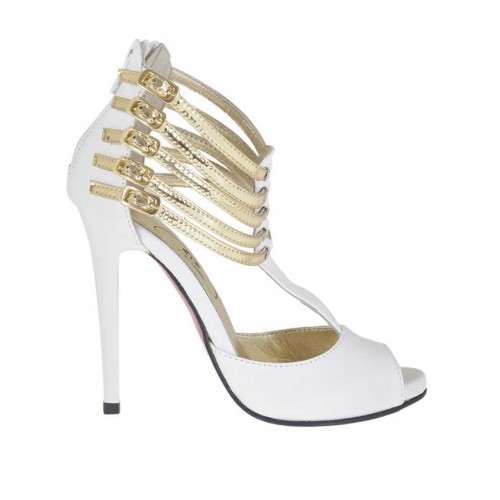 Woman's open shoe with zipper, straps and platform in white leather and platinum patent leather heel 10 - Available sizes:  34, 42, 43