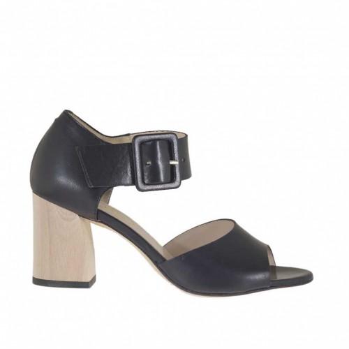 Chaussure ouvert pour femmes avec boucle en cuir noir talon 6 - Pointures disponibles:  42
