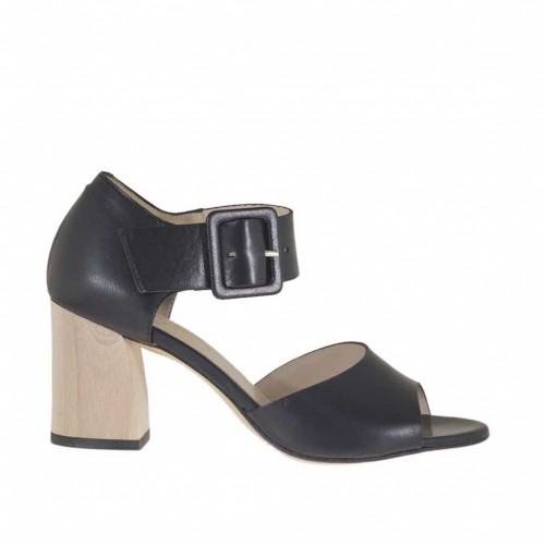 Woman's open shoe with buckle in black leather heel 6 - Available sizes:  42