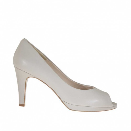 Woman's open toe pump with platform in grey leather heel 8 - Available sizes:  44