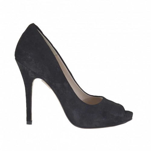 Woman's open platform pump in black processed suede heel 11 - Available sizes:  42