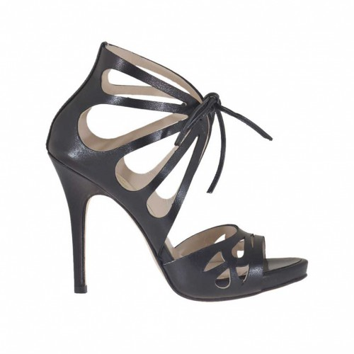 Woman's open platform pump with laces in black pierced leather heel 11 - Available sizes:  31, 46