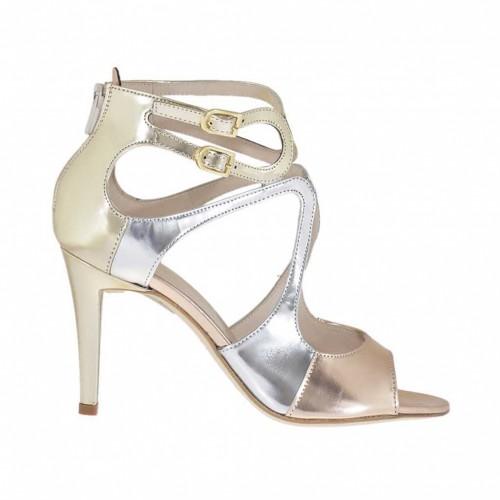 Chaussure ouvert avec courroies et fermeture éclair en cuir verni argent, platine et cuivre talon 9 - Pointures disponibles:  32, 34
