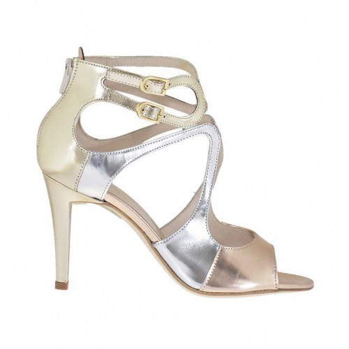 Woman's open strap shoe with zipper in silver, platinum and copper patent leather heel 9 - Available sizes:  31, 32, 34, 45, 46