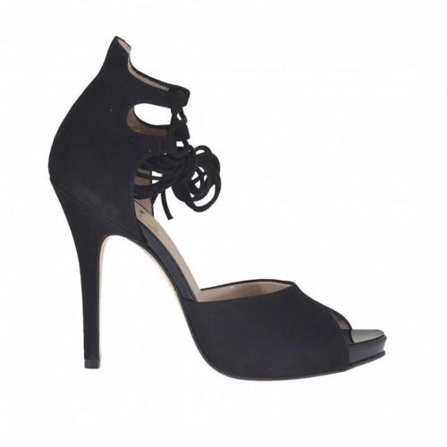 Chaussure ouvert à lacets avec plateforme en daim noir talon 11 - Pointures disponibles:  31