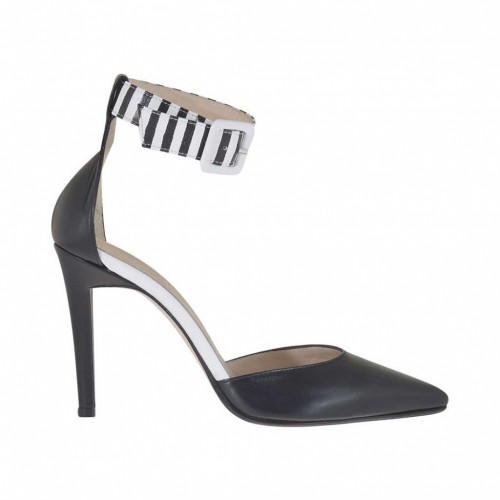 Woman's open shoe with ankle strap in black and white leather heel 10 - Available sizes:  34, 46