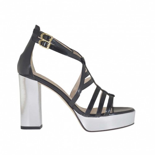 Woman's open strap shoe in black leather with platform and heel 10 in silver patent leather - Available sizes:  42, 43