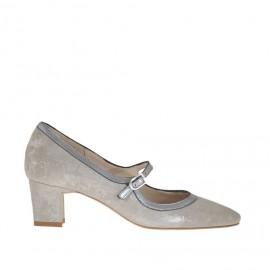Decolté da donna con cinturino in camoscio taupe laminato argento e pelle argento tacco 5 - Misure disponibili: 34, 45, 46